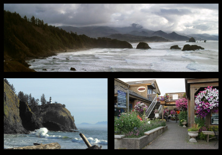 Picture collage of Cannon Beach, OR