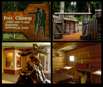Picture collage of Fort Clatsop