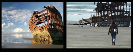 Picture collage of Peter Iredale shipwreck