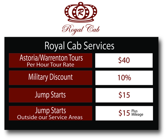 Royal Cab Service Rates Picture