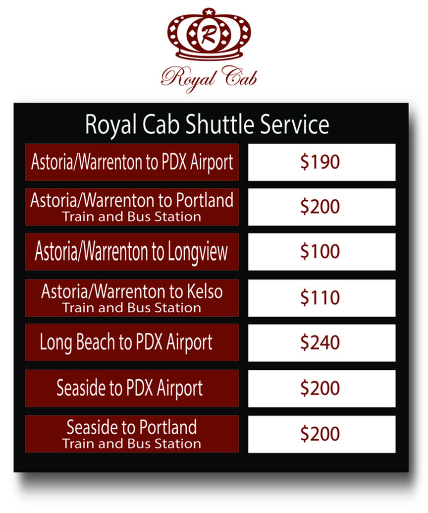 Royal Cab Shuttle Service Pricing Picture